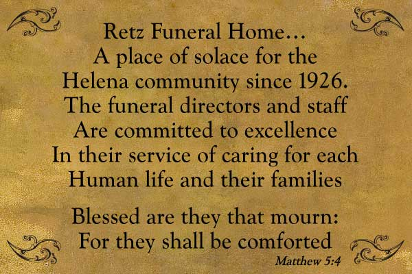 Retz Funeral Home - A place of solace for the Helena Community since 1926